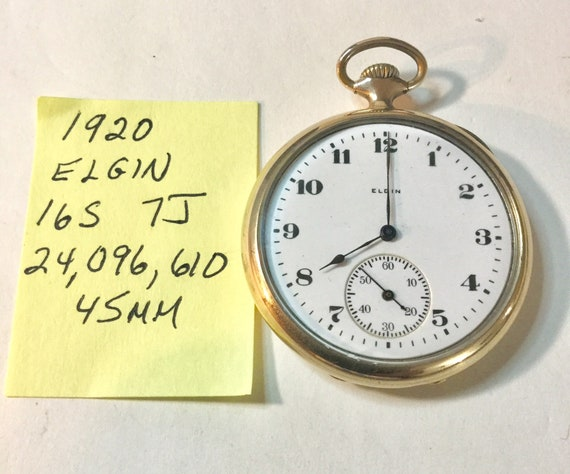 1920 Elgin 16S 7J Pocket Watch 45mm 24,096,610 Running