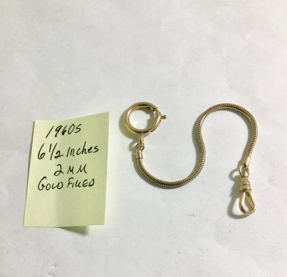1960s Pocket Watch Chain Gold Filled 6 1/2 Inches 2mm Unworn
