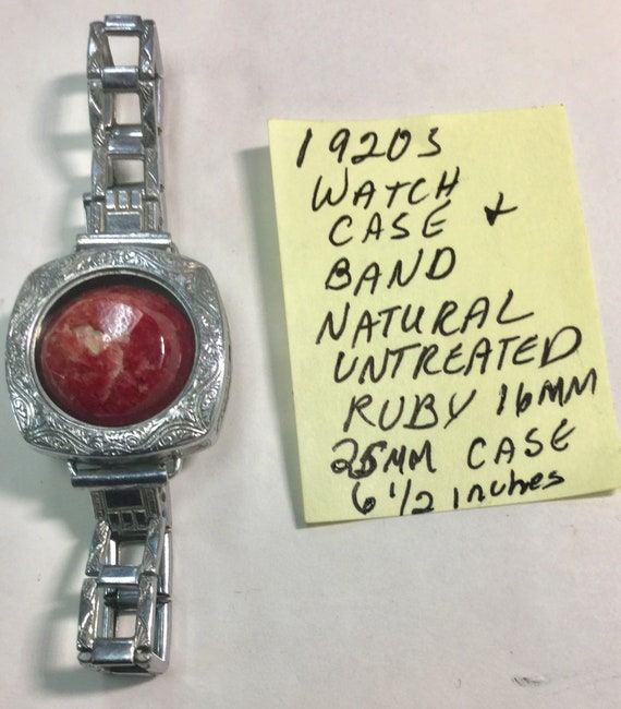 1920s Ladys Watch Case and Band with Natural Ruby Gemstone Insert 25mm Case 16mm Ruby 6 1/2 inches