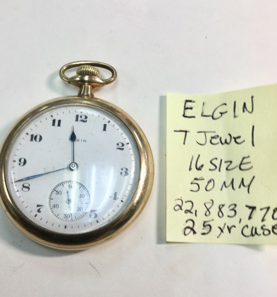 1919 Elgin 7 Jewel Pocket Watch 25 Year Gold Filled Case 16 Size 50mm