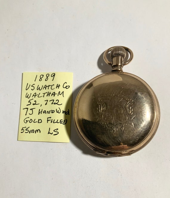1889 US Watch Co Waltham Gold Filled Hunting Case Pocket Watch 18S 7J LS Running 52,772