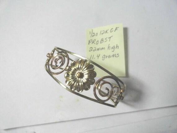 1950s Probst Gold Filled Daisy Flower Cuff Bracelet 22mm 11.4 Grams