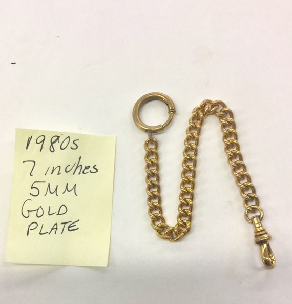1980s Pocket Watch Chain 7 inches 5mm Gold Plated