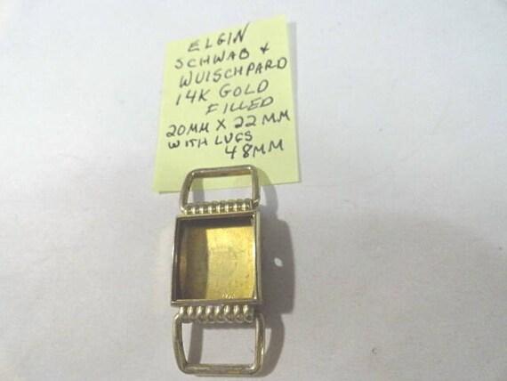 Vintage Elgin Watch Case Flexible Lugs Drivers Style 14k Gold Filled 20mm by 48mm Schwab & Wuischpard
