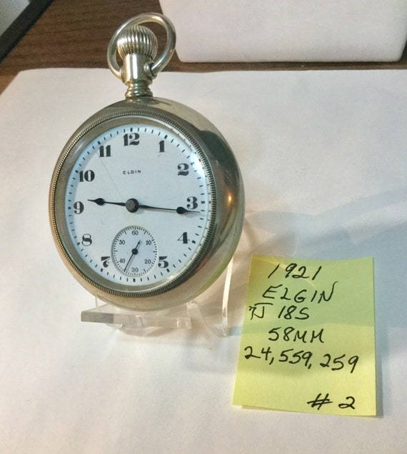 1921 Elgin Pocket Watch 7J 18S 58mm Running 24,559,259