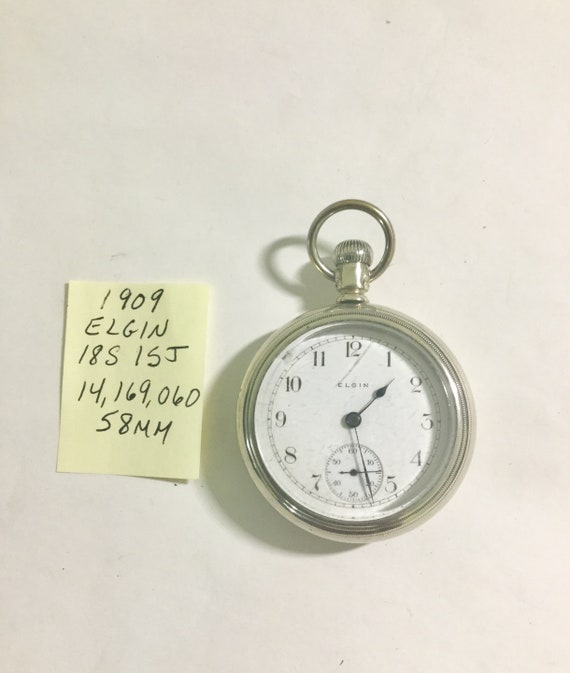 1909 Elgin Pocket Watch 15J 18S 58mm Case