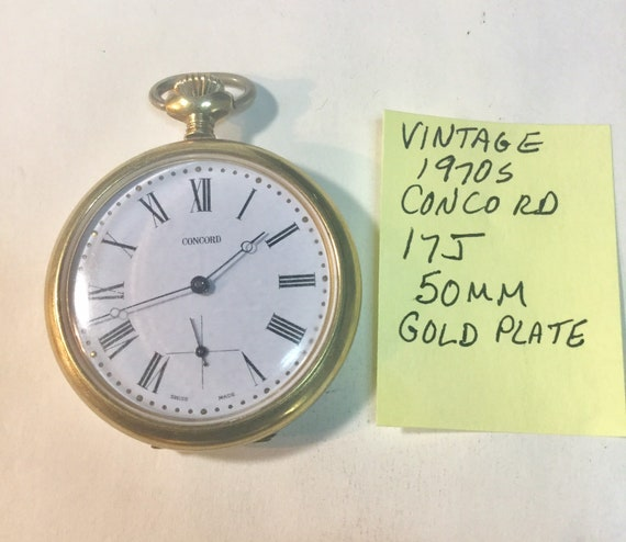 1970s Concord Swiss Pocket Watch 17J 50mm Gold Plate Case Running