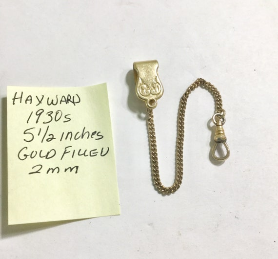 1930 s Hayward Gold Filled Pocket Watch Chain 5 1/2 Inches 2mm