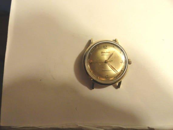 1964 Bulova Wrist Watch 23 Jewel Self Winging 10K Gold Filled Bezel SS Screwback