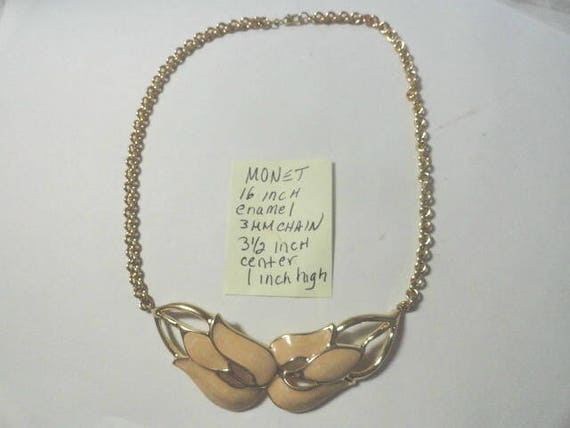 Vintage 1970s Monet Enamel Gold Tone Choker Necklace 16 Inches 3mm Chain 3 1/2 inch enamel center 1 inch high