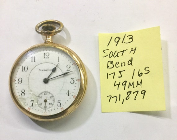 1913 South Bend Pocket Watch 17J 16S 49mm 771,879 Running