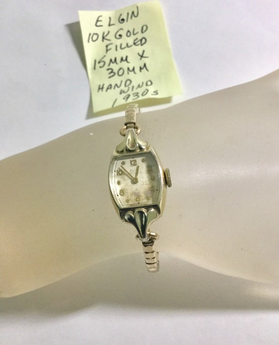 1930s Lady's Hand Wind Elgin 10K Gold Filled Case 15mm by 30mm Expansion Band