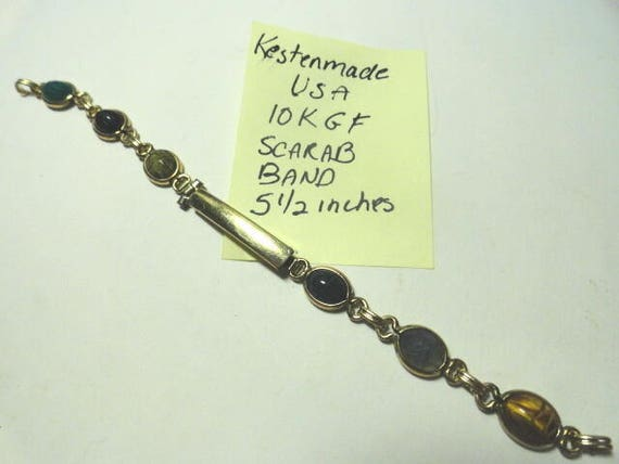 1950s Kestenmade Lady's Scarab Watch Band 10K Gold Filled Loop End 5 1/2 inches