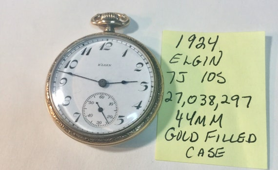 1924 Elgin Pocket Watch 7J 10S 27,038,297 Running 44mm Gold Filled Case