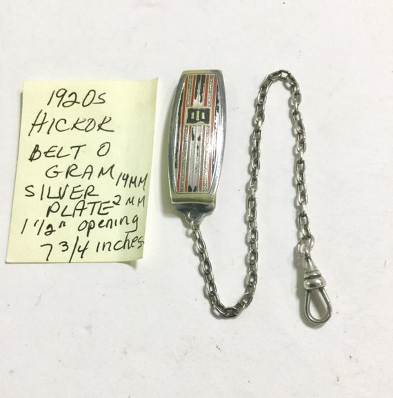 1920s Hickok Belt O Gram Silver Plate Pocket Watch Chain 7 3/4 Inches