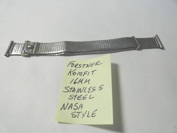 Vintage 1960s Forstner Komfit Stainless Steel NASA Style Wrist Watch Band 16mm