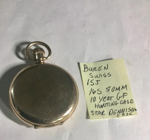 1920s Buren Swiss Pocket Watch Dennison Hunting Case 15J 16S 50mm