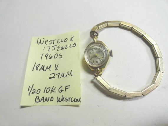 Vintage 1960s Westclox Lady's Hand Wind 17 Jewel Wrist Watch with Gold Filled Expansion BAnd