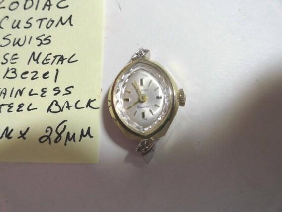 Vintage 1960s Zodiac Ladys Custom Model  Wrist Watch Hand Wind Gold Tone Case 17mm by 28mm