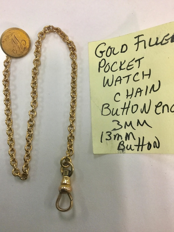 1910s Gold Filled Pocket Watch Chain 9 inches with Button End 13mm 3mm Chain