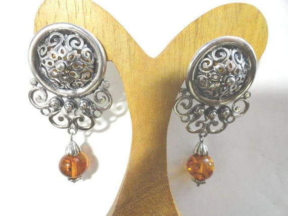 Vintage 1980s Sterling Silver 925 Fancy Clip Earrings with Amber Drops 1 1/4 inch by 2 1/2 inches Long 20.7 Grams