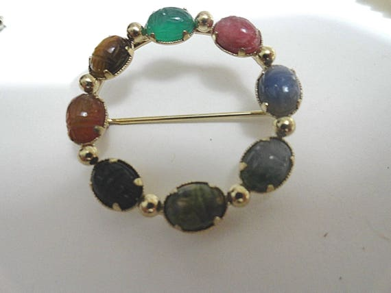 Vintage Gold Filled Scarab Circle Pin Brooch 1 1/2 Inch