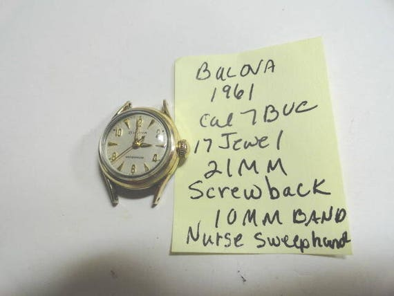 1961 Bulova Lady's Hand Wind Wrist Watch with Red Sweep Seconds Parts or Repair 21mm