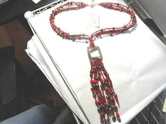 Vintage 1970s DTR Sterling Silver and Coral Multi Strand 24 Inch Necklace with  8 inch Tassel