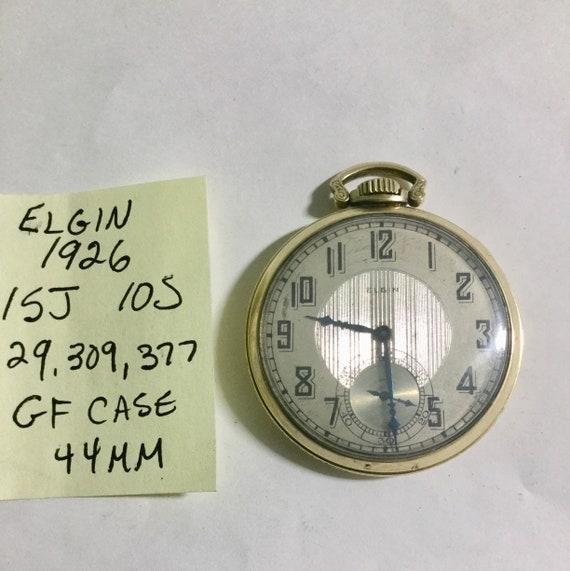 1926 Elgin Pocket Watch 15J 10S Gold Filled Case 44mm