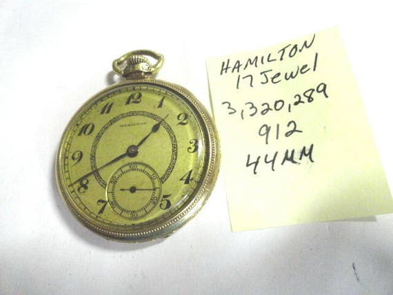 1920s Hamilton 17 Jewel 912 Pocket Watch Gold Filled Case 44mm Running