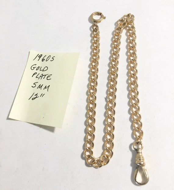 "1960s Gold Plate Pocket Watch Chain 12"" 5mm"