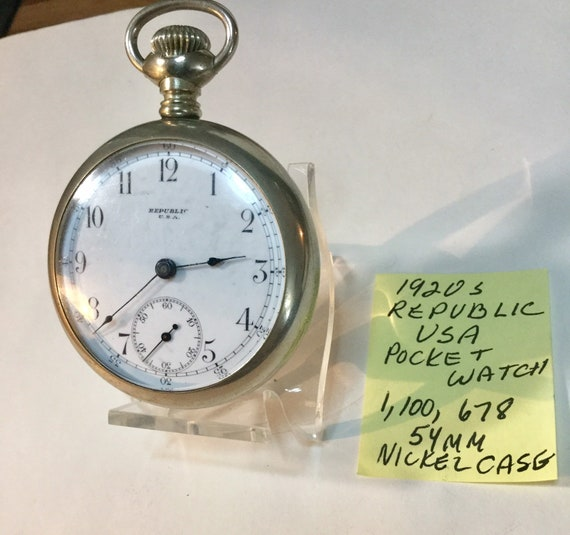 1920s Republic USA Pocket Watch Nickel Case 54mm Running 1,100,678