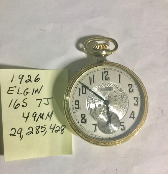 1929 Elgin Pocket Watch 7J 16S 49mm Gold Filled Case