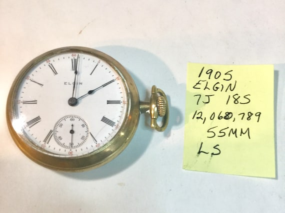 1905 Elgin Pocket Watch 7J 18S 55mm LS Running  12,060,789