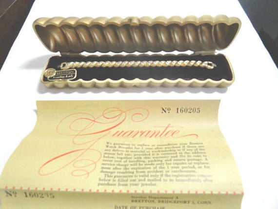 Vintage 1940s Ladys Bretton Expansion Band Gold Filled Top Stainless Back with Original Box and Warranty