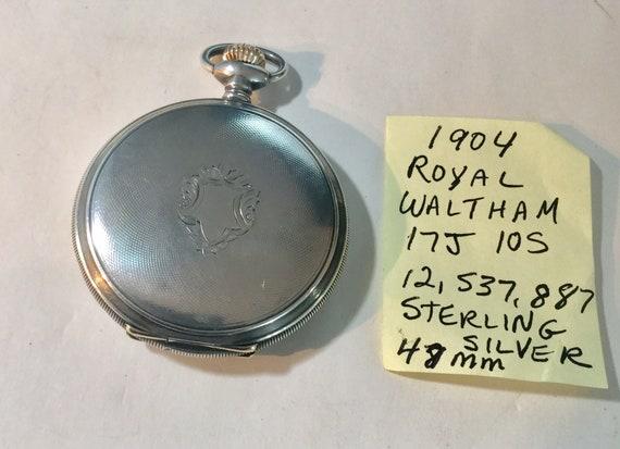 1904 Waltham Pocket Watch Sterling Silver Hunting Case 48mm Running 17J 48mm