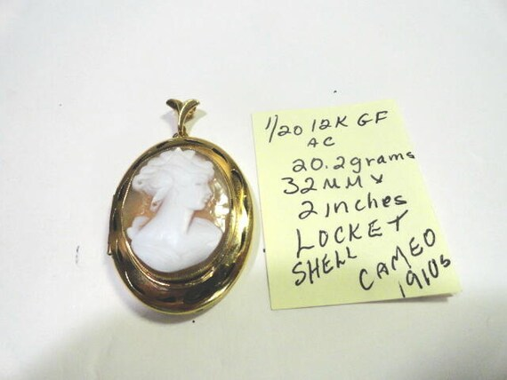 1910s Gold Filled Shell Cameo Locket 32mm by 2 inches 20.2 grams