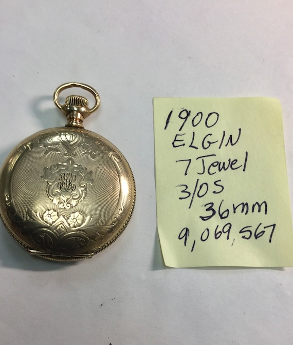 1900 Elgin Pocket Watch Gold Filled Hunting Case 3/0S 36mm Running