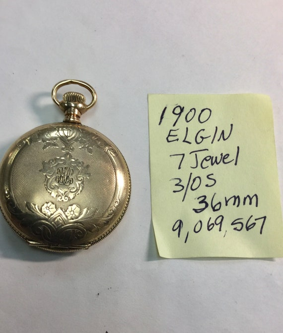 1900 Elgin Pocket Watch Gold Filled Hunting Case 3/0S 36mm Running