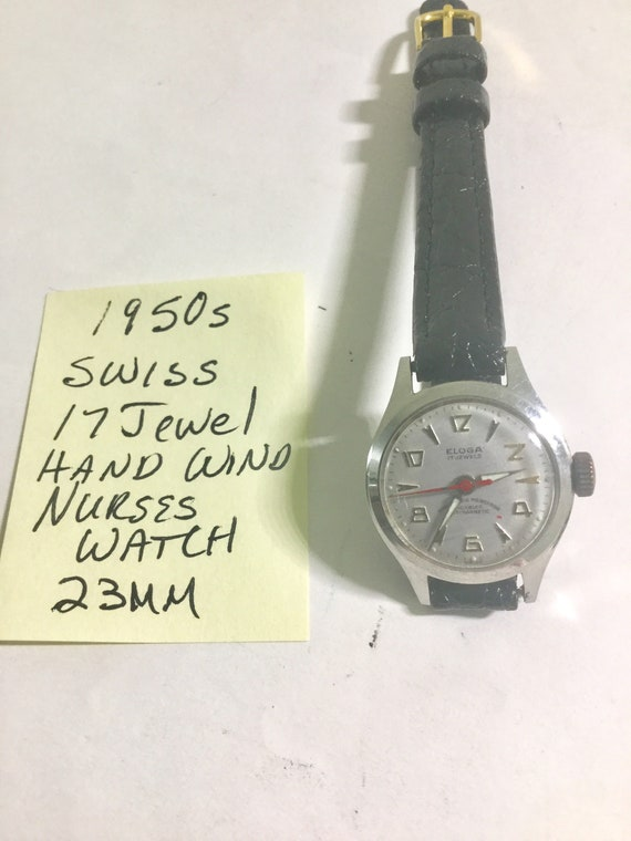 1950s Ladys Swiss Hand Wind Nurse Style Wristwatch 23mm Running