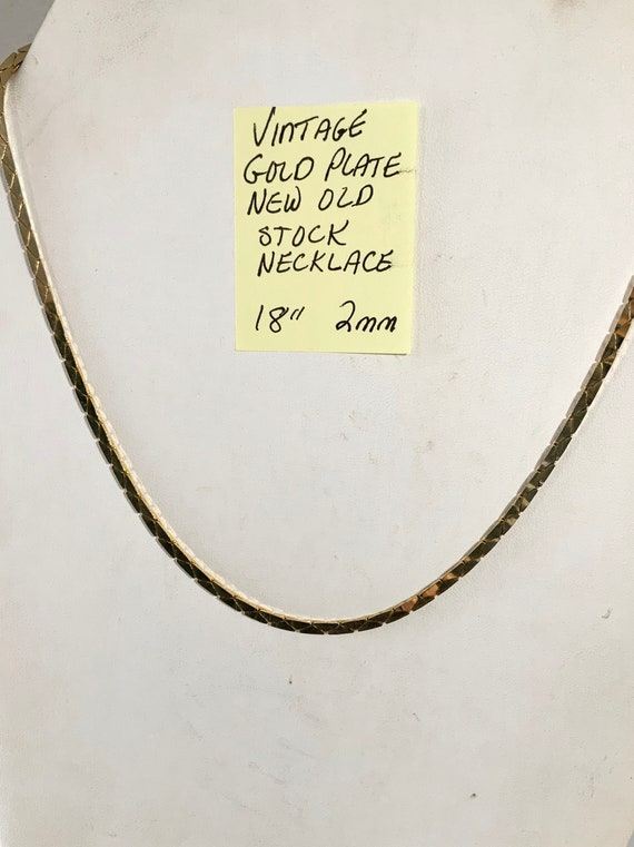 "Vintage Gold Plate New Old Stock Necklace 18"" 2mm"