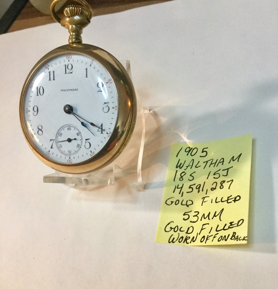 1905 Waltham Pocket Watch 18S 15J Gold Filled 53mm Running 14,591,287