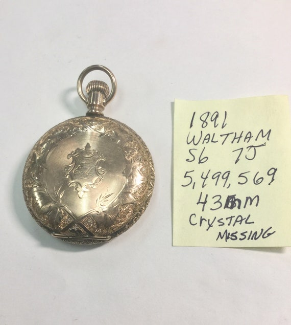 1891 Waltham Pocket Watch Gold Filled Hunting Case 7J 6S 43mm  Running
