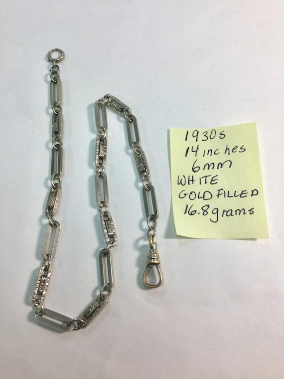 1930s White Gold Filled Pocket Watch Chain 14 inches 6mm 16.8 grams