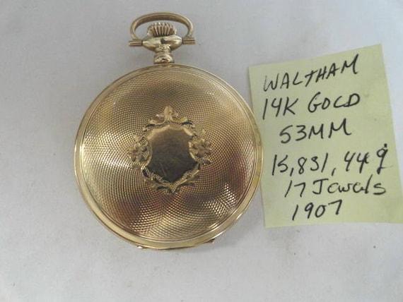Beautiful 1907 Waltham 14 Karat Solid Gold Pocket Watch 17 Jewels 53mm Running