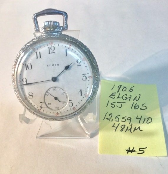 1906 Elgin Pocket Watch 15J 16S Running 48mm 12559410