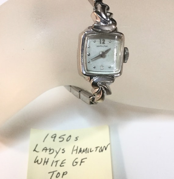 1950s Ladys Hamilton Hand Wind White Gold Filled Top Stainless Expansion Band Running 14mm x 30mm 6 inches