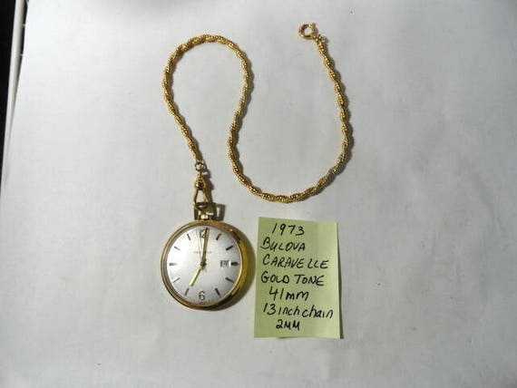 Vintage 1973 Bulova Caravelle Gold Tone Pocket Watch 41mm  with 13 Inch 2mm Chain