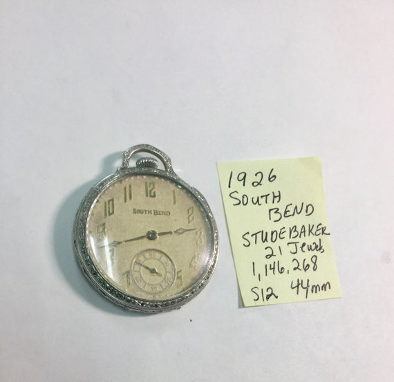 1925 South Bend Studebaker Pocket Watch 21J 8 Adj 12S 44mm Running