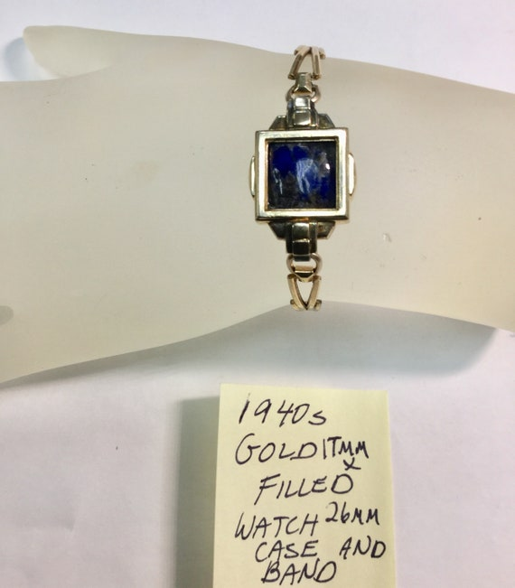 1940s Gold Filled Watch Case and Band with Lapis Lazuli Gemstone Insert